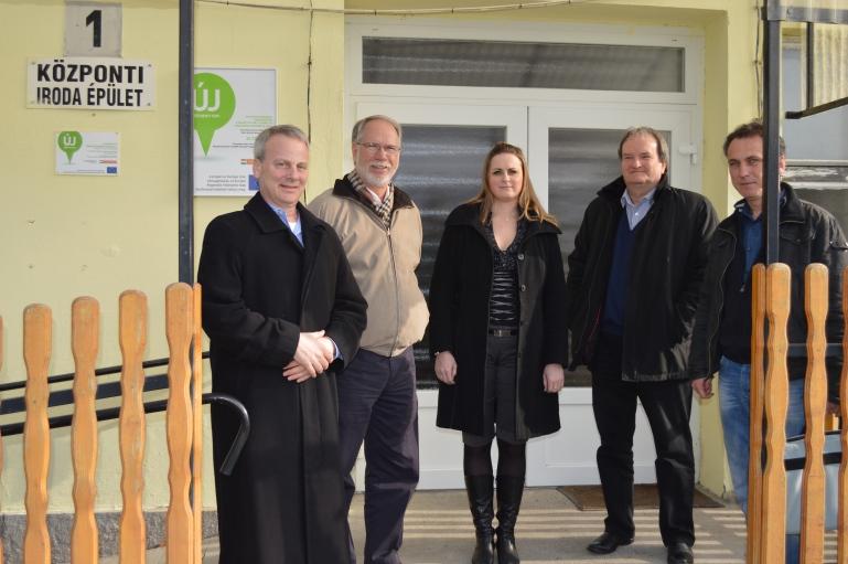 Doug Roth, Louis Mattia (Dyntell), Orsolya Fodor (Taugep CEO), and Istvan Jozsa (Dyntell)