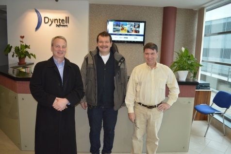 Doug Roth, Dyntell CEO Peter Salga and CSS COO Bob Cusack at Dyntell Headquarters in Debrecen, Hungary